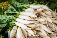 Daikon radish vegetables at asian market Royalty Free Stock Photo