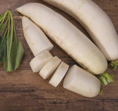 Daikon radish on the wood Stock Photo
