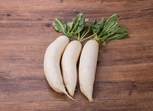 Daikon radish on the wood. Background Stock Photo