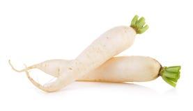 Daikon radishes isolated on white background Stock Photos