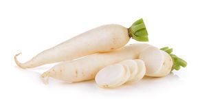 Daikon radishes isolated on white background. Daikon radishes isolated on a  white background Stock Photography