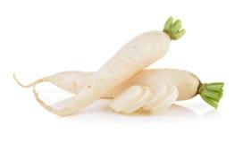 Daikon radishes  on white background Royalty Free Stock Photo