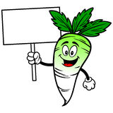 Daikon with Sign Royalty Free Stock Images
