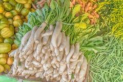 Daikon, white radish, Raphanus sativus in the market. Of Sri Lanka Stock Images