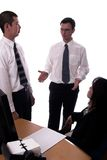 Dailey Brief. American and asian business people isolated Stock Image