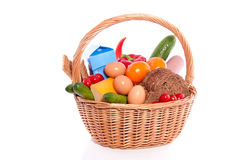 Daily Food In A Wicker Basket Royalty Free Stock Photography