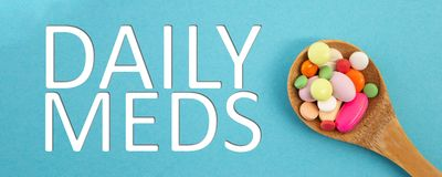 Free Daily Meds Text With Spoon Full Of Medicine Stock Images - 137913984