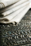Daily Newspaper And Movable Type Royalty Free Stock Photography