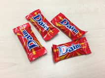 Daim chocolate on the table Royalty Free Stock Image
