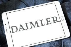 Daimler automotive corporation logo. Logo of Daimler automotive corporation on samsung tablet. Daimler AG is a German multinational automotive corporation Stock Photo
