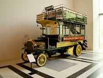 Daimler 6-HP cart at Louwman Museum. The 1904 Milnes-Daimler double-decker omnibus in the Louwman Museum of Den Haag (the Netherlands Stock Photo