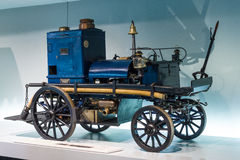 Daimler motorized fire-fighting pump (Daimler Motor-Feuerspritze), 1892. Stock Image