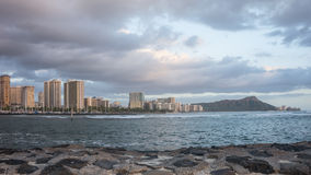 Daimond Head & Waikiki Beach Royalty Free Stock Images