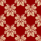 Dainty beige and maroon floral seamless pattern Stock Photos