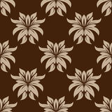 Dainty brown floral seamless pattern Stock Photos