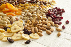 Dainty nuts and dried fruits Stock Images