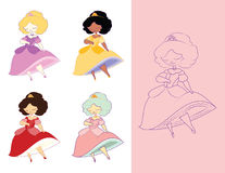 Dainty Princess. Cute vector cartoon character. A dainty, demure little princess dancing in a tiara and ball gown, lifting her skirt and showing a chubby calf vector illustration