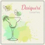 daiquiri Συρμένη χέρι διανυσματική απεικόνιση του κοκτέιλ ζωηρόχρωμο watercolor ανασκόπησης Στοκ Φωτογραφία