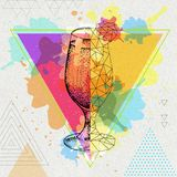 Daiquiri van de Hipster realistische en veelhoekige cocktail Stock Foto