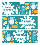 Dairy banner. Flat style. Milk products , board. Farm , Fresh . Vector illustration Royalty Free Stock Photo