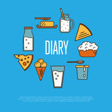 Dairy banner with milk products composition Royalty Free Stock Image