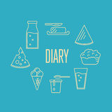 Dairy banner with milk products composition Royalty Free Stock Images