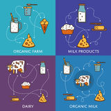 Dairy banners set with milk products Royalty Free Stock Photos