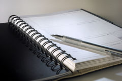 Dairy book. Management dairy book with pen Royalty Free Stock Photo