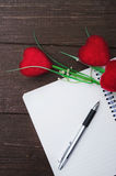 Dairy book and pen with artificial flowers . Stock Image