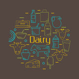 Dairy colorful line icons set in circle shape Royalty Free Stock Images