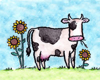 The dairy cow. Dairy cow in a field of sunflowers. Art marker on vellum vector illustration