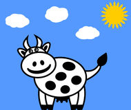 A dairy cow on a blue background Stock Photos
