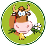 Dairy Cow Cartoon Logo Mascot Banner Royalty Free Stock Image