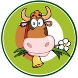Dairy Cow Cartoon Logo Mascot Banner royalty free illustration