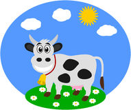 A dairy cow in a field. Illustration Royalty Free Stock Photo