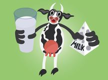 Animal Products 6. A dairy Cow holding a milk Carton and a glass cup full of fresh milk Stock Image