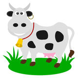 A dairy cow in a pasture. Illustration Royalty Free Stock Images