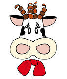 Dairy cow with red bow. Stock Photos