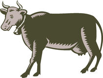 Dairy Cow Side View Woodcut Royalty Free Stock Photography