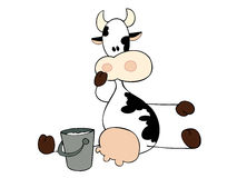 Dairy cow sitting. Stock Images