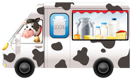 Dairy cow in a truck. Illustration Stock Photography