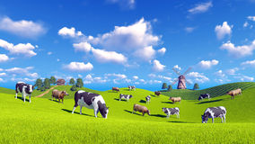 Dairy cows graze on spring pasture. Rural landscape with cows grazing on a green hills and with rustic house and windmill in the distance. Realistic 3D royalty free illustration