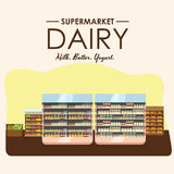 Dairy department, milk shelf with fresh healthy food in supermarket, big choice of organic farm products sale in food Royalty Free Stock Photography
