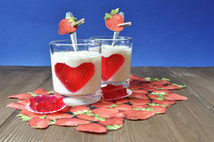 Dairy desserts. Dairy dessert with strawberry jelly, tasty and healthy food Stock Photo