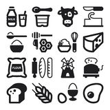 Dairy Egg Bread Sugar flat icons. Black Stock Photos