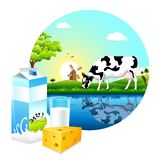 Dairy Farm. Illustration of cow grazing in farm with dairy product Royalty Free Stock Image