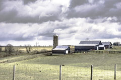Dairy Farm in Fleming County Kentucky. February 26, 2016: Traditional dairy farm in Fleming County, Kentucky during the winter Royalty Free Stock Image