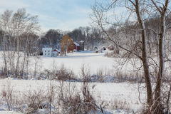 Dairy farm in fresh snow Stock Photo