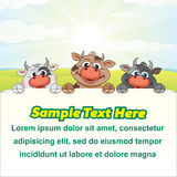 Dairy Farm Illustration Funny Cows with Empty Sign Stock Images