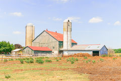 Dairy farm in Ontario, Canada. With out buildings and silos Stock Images